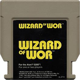 Cartridge artwork for Wizard of Wor on the Atari 5200.