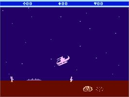 In game image of Choplifter on the Atari 5200.