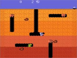 In game image of Dig Dug on the Atari 5200.