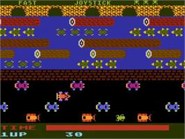 In game image of Frogger on the Atari 5200.
