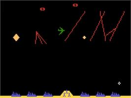 In game image of Missile Command on the Atari 5200.