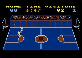 In game image of RealSports Basketball on the Atari 5200.
