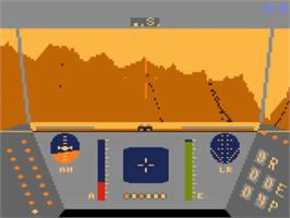 In game image of Rescue on Fractalus on the Atari 5200.