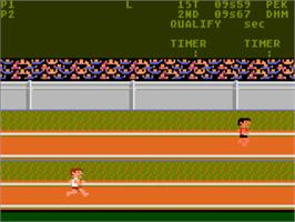 In game image of Track & Field on the Atari 5200.