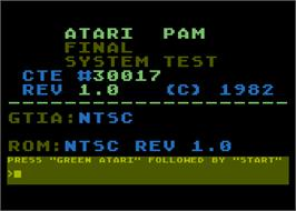 Title screen of Atari PAM: System Test on the Atari 5200.