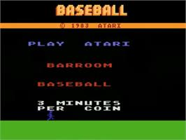 Title screen of Barroom Baseball on the Atari 5200.