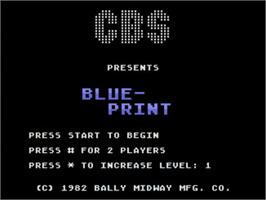 Title screen of Blue Print on the Atari 5200.