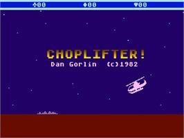 Title screen of Choplifter on the Atari 5200.
