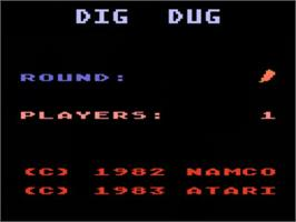 Title screen of Dig Dug on the Atari 5200.