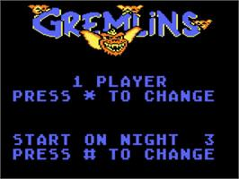 Title screen of Gremlins on the Atari 5200.