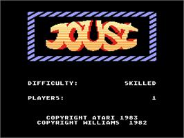 Title screen of Joust on the Atari 5200.