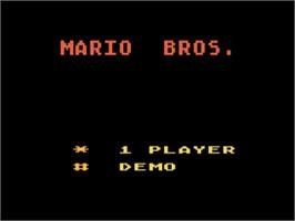Title screen of Mario Bros. on the Atari 5200.