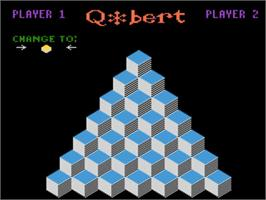 Title screen of Q*bert on the Atari 5200.
