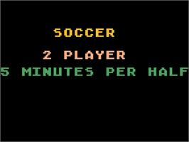 Title screen of RealSports Soccer on the Atari 5200.