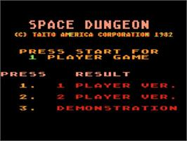 Title screen of Space Dungeon on the Atari 5200.
