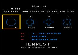 Title screen of Tempest on the Atari 5200.