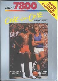 Box cover for Dr. J and Larry Bird Go One-on-One on the Atari 7800.