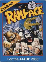 Box cover for Rampage on the Atari 7800.