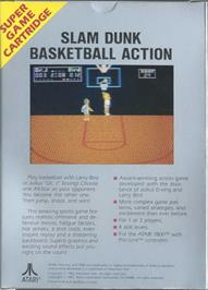 Box back cover for Dr. J and Larry Bird Go One-on-One on the Atari 7800.
