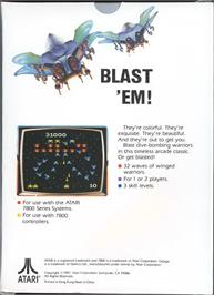 Box back cover for Galaga on the Atari 7800.