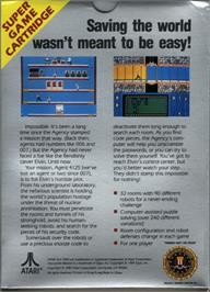Box back cover for Impossible Mission on the Atari 7800.