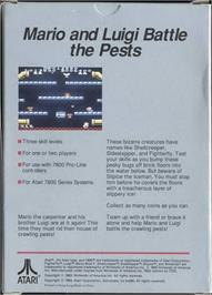 Box back cover for Mario Bros. on the Atari 7800.