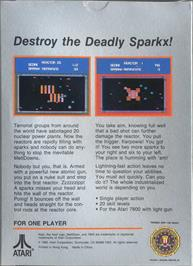 Box back cover for Meltdown on the Atari 7800.