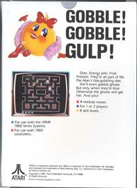 Box back cover for Ms. Pac-Man on the Atari 7800.