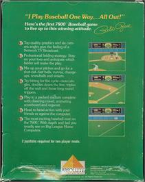 Box back cover for Peter Rose Baseball on the Atari 7800.