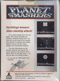 Box back cover for Planet Smashers on the Atari 7800.