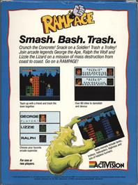 Box back cover for Rampage on the Atari 7800.