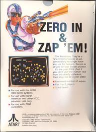 Box back cover for Robotron on the Atari 7800.