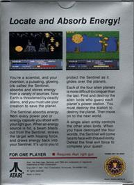 Box back cover for Sentinel on the Atari 7800.