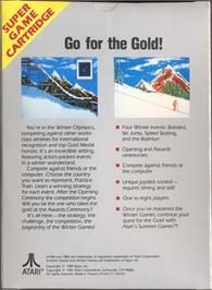 Box back cover for Winter Games on the Atari 7800.
