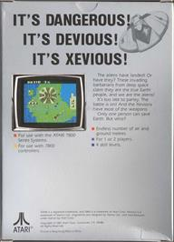 Box back cover for Xevious on the Atari 7800.
