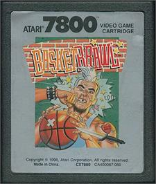 Cartridge artwork for Basketbrawl on the Atari 7800.