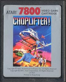 Cartridge artwork for Choplifter on the Atari 7800.