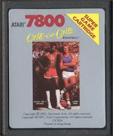 Cartridge artwork for Dr. J and Larry Bird Go One-on-One on the Atari 7800.