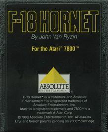 Cartridge artwork for F-18 Hornet on the Atari 7800.