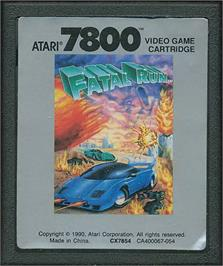 Cartridge artwork for Fatal Run on the Atari 7800.