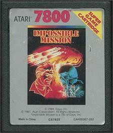 Cartridge artwork for Impossible Mission on the Atari 7800.