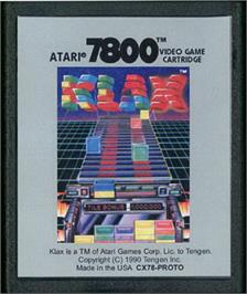 Cartridge artwork for Klax on the Atari 7800.