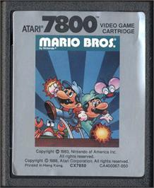 Cartridge artwork for Mario Bros. on the Atari 7800.