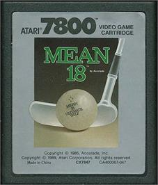 Cartridge artwork for Mean 18 Golf on the Atari 7800.