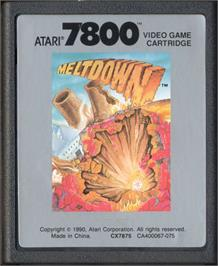 Cartridge artwork for Meltdown on the Atari 7800.