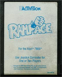 Cartridge artwork for Rampage on the Atari 7800.