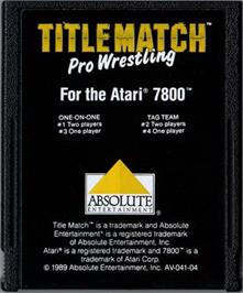 Cartridge artwork for Title Match Pro Wrestling on the Atari 7800.