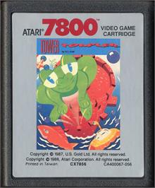 Cartridge artwork for Tower Toppler on the Atari 7800.