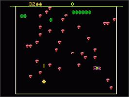 In game image of Centipede on the Atari 7800.
