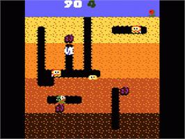 In game image of Dig Dug on the Atari 7800.